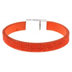 Bracelet acier cristal rouge orange 19 cm