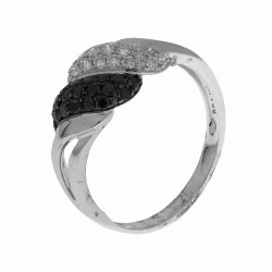 Bague 19 diamants blancs et 19 diamants noirs