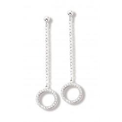 Boucles d'oreilles argent rhodié pendantes oxyde de zirconium