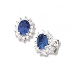 Boucles d'oreilles argent rhodié cz blanc et bleu