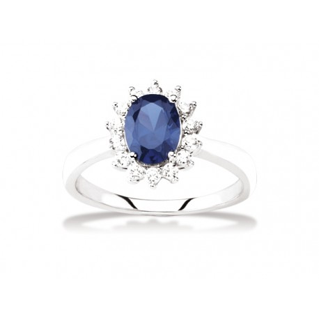bague argent zirconium bleu
