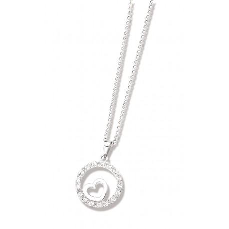 Collier argent rhodié oxyde de zirconium 45 cm