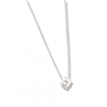 Collier argent rhodié solitaire griffe oxyde de zirconium 45 cm