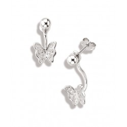 Boucles d'oreilles argent rhodié oxyde de zirconium papillon